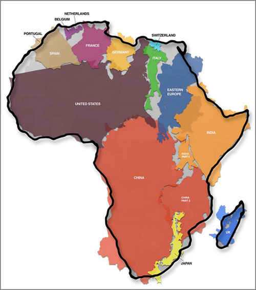 relative size of africa