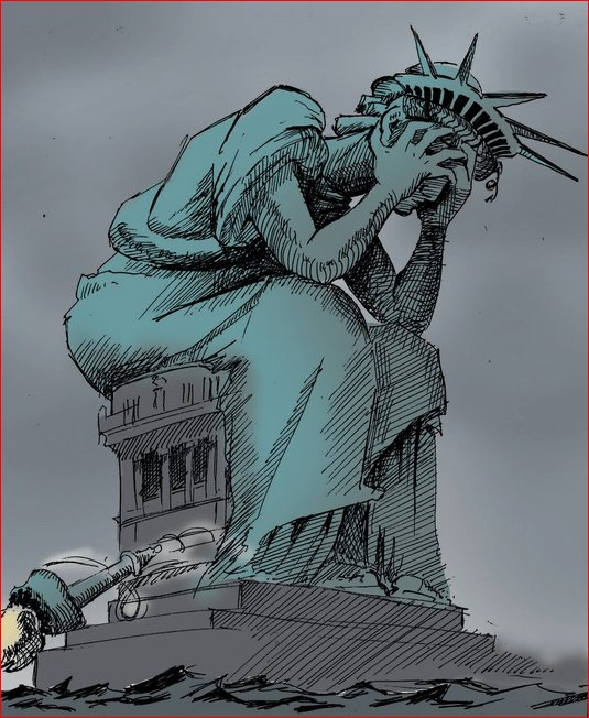 statue of liberty with head in her hands